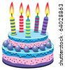 vector birthday cake with burning candles - stock vector