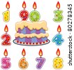 vector birthday candles and cake - stock photo