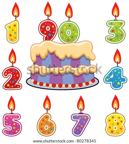 vector birthday candles and cake - stock vector