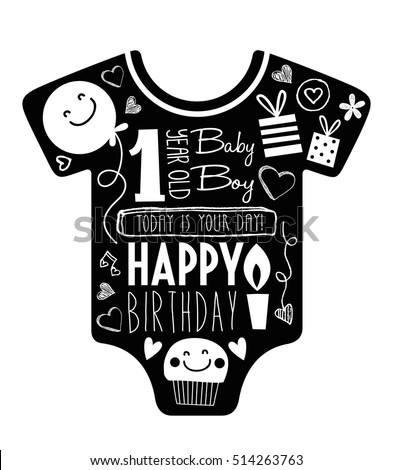 Vector Birthday Card One Year Old Stock Vector Royalty Free
