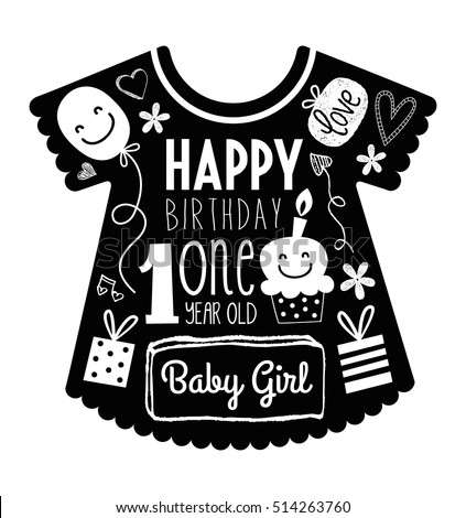 Vector Birthday Card For One Year Old Baby Girl With Clothes Background Full Of