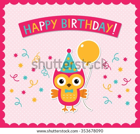 Vector Birthday Card Cute Little Owl Vector 354186362 – Vector Birthday Card