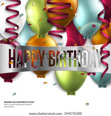 Vector birthday card with balloons and birthday text. - stock vector