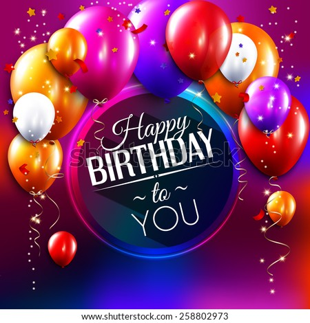 Vector birthday card with balloons, confetti and curling streamer or party serpentine.