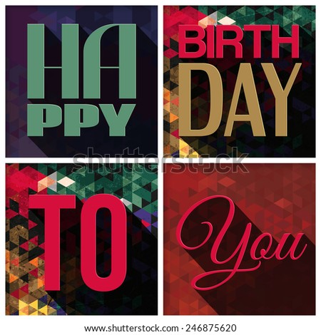 Vector birthday card with birthday text on triangular background - stock vector
