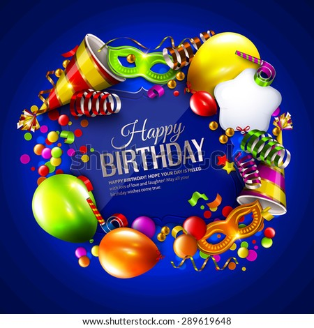 Vector birthday card with colorful balloons, curling ribbons, carnival mask, hat and confetti on blue background. - stock vector