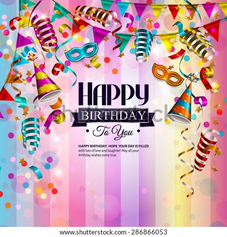 Vector Birthday Card Colorful Curling Ribbons Vector – Vector Birthday Card
