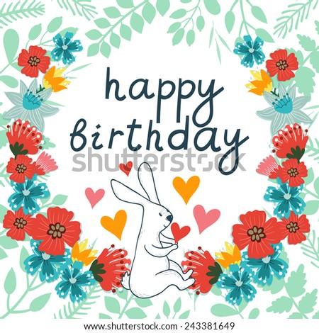 Vector Birthday Card Cute Bunny Different Vector 243381649 – Vector Birthday Cards