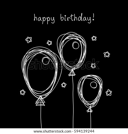Vector Birthday Card Doodle Balloon Black Stock Vector 594139244