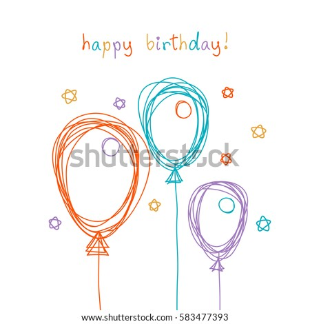 Vector birthday card with doodle balloon. Color scribble design template in childish hand drawn style. Festive illustration for print, web