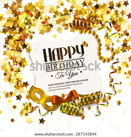 Vector birthday card with golden stars and pearls, curling ribbons, carnival mask and confetti. - stock vector