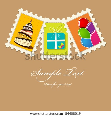 Vector birthday greeting card - stock vector