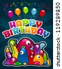 Vector birthday invitation greeting card with colorful monsters and party balloons. - stock photo