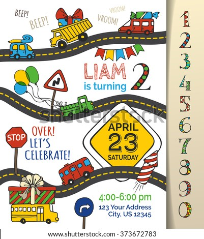 Vector birthday invitation template boy handdrawn stock vector vector birthday invitation template for boy hand drawn doodles cars and traffic signs stopboris Gallery