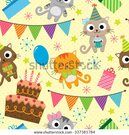Vector birthday party background with cute cats - stock vector
