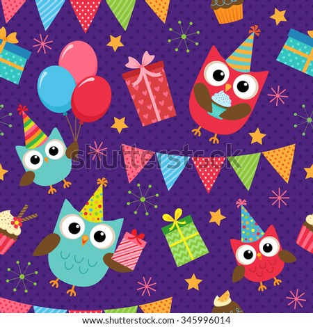 Vector birthday party background with cute owls - stock vector