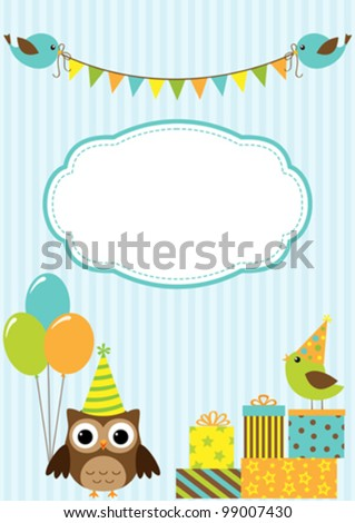 Vector birthday party card with cute birds and owl - stock vector