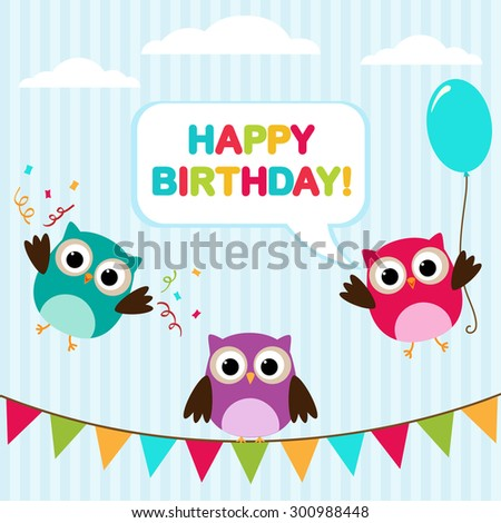 Vector birthday party card with cute owls, balloon and bunting.  - stock vector
