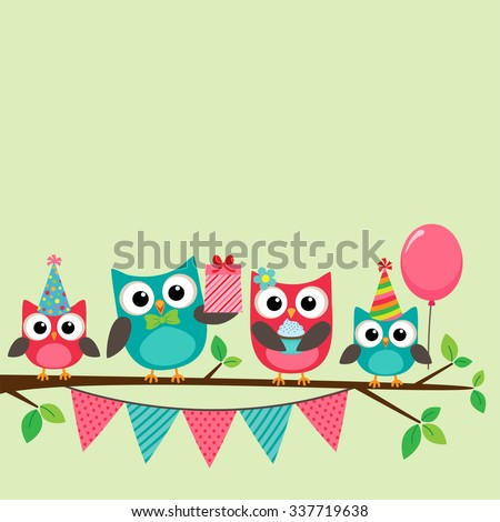 Vector birthday party card with cute owls on tree - stock vector