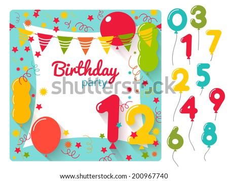 Vector birthday party invitation card design template with balloons numbers - stock vector