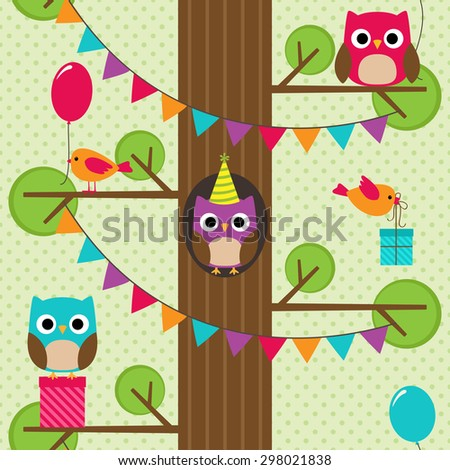 Vector birthday party seamless pattern with cute birds sitting on the tree. - stock vector