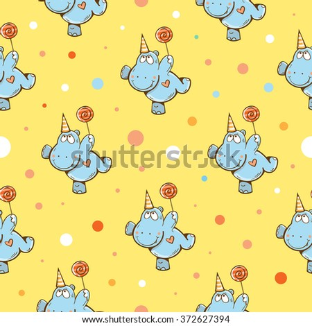 Vector birthday seamless pattern with cartoon funny hippos, candies and confetti on  yellow background. - stock vector