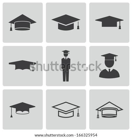 Vector black academic cap icons set - stock vector