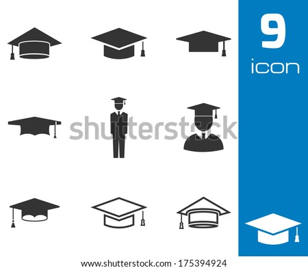 Vector black academic cap icons set on white background - stock vector