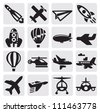 vector black airplane icon set on gray - stock photo