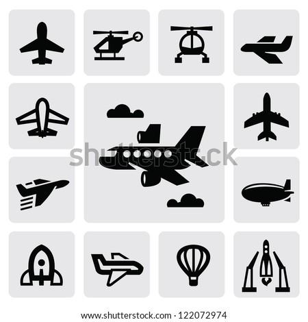 vector black airplane icon set on gray - stock vector