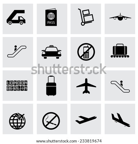 Vector black airport icons set on grey background