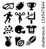 vector black american football icon set on white - stock vector