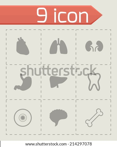 Vector black anatomy icons set on grey background