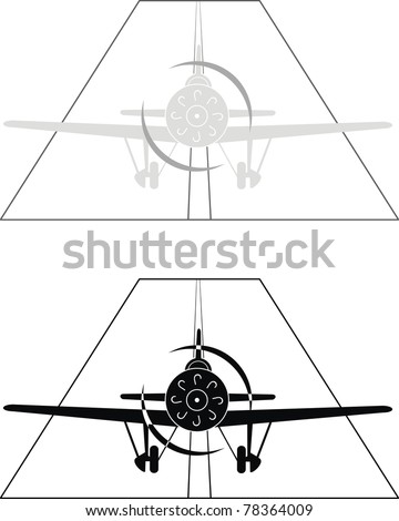 Vector black and gray silhouettes of military aircraft of World War II,  XX century (or sports monoplane), on airport - isolated illustration on white background