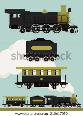 Vector black and green steam locomotive with coal and passenger cars | Ancient train with steam engine in black and green colors - stock vector