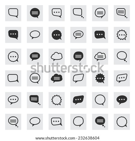 Vector black and line speech bubble  icons set isolated on a gray square - stock vector