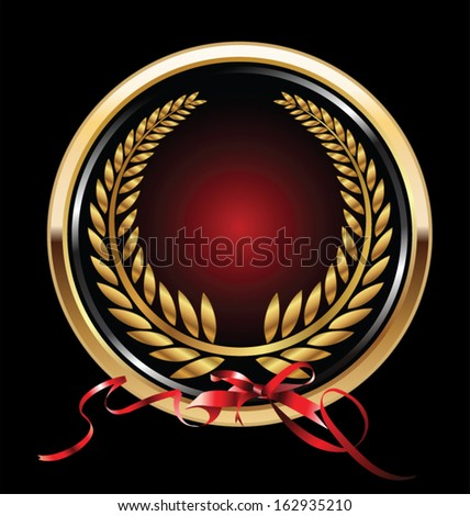 Vector black and red medal with gold laurels - stock vector