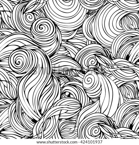 Vector black and white abstract hand-drawn seamless pattern with wavy hair