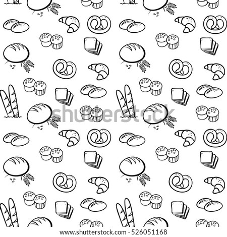 Vector black and white bakery pattern