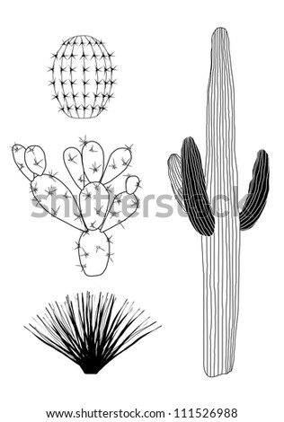 Vector Black and White Cactus Set - stock vector