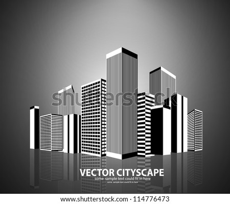 Vector black and white city
