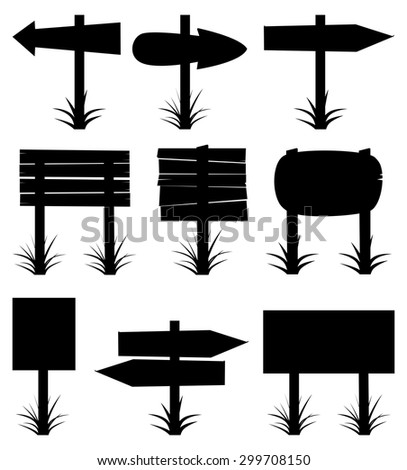 vector black and white collection of wooden signs - stock vector