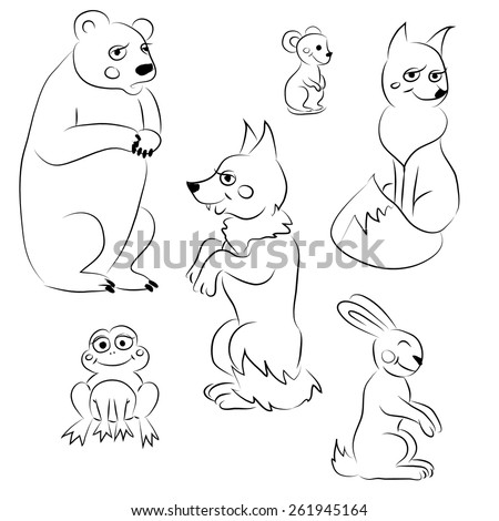 Vector black and white coloring forest animals. isolated bear, wolf, fox, rabbit, frog, mouse. - stock vector