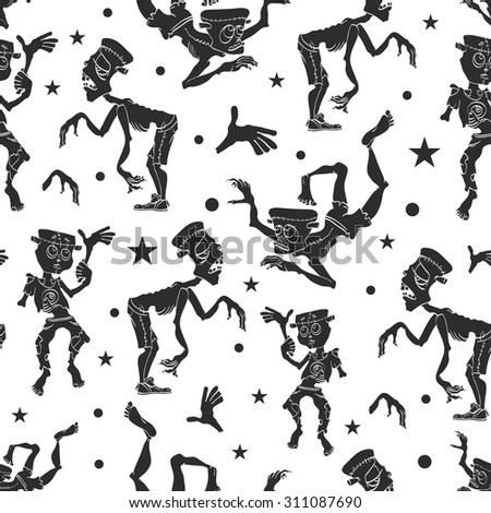 Vector Black and White Dancing Zombies Seamless Pattern. Waving Zombie. Frankenstein costume - stock vector