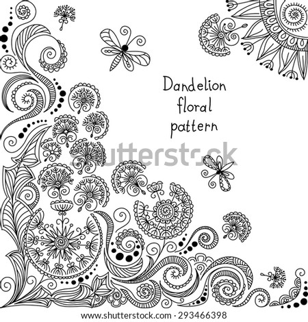 vector black and white dandelion floral pattern of spirals, swirls, doodles - stock vector