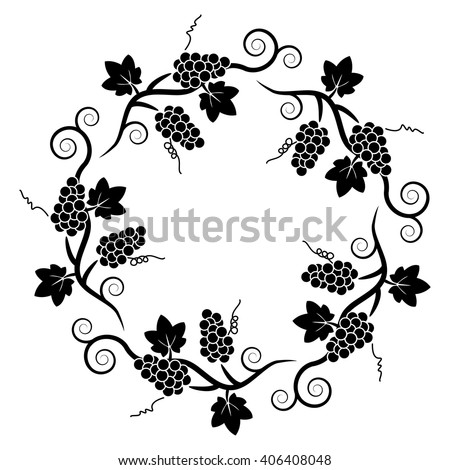 vector black and white decoration pattern of grape vine - stock vector