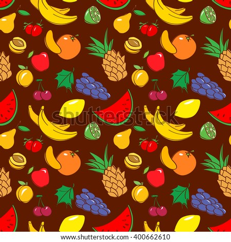 Vector black and white doodle seamless pattern with fruits in cartoon style - stock vector
