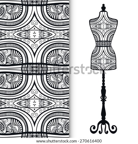 Vector black and white fashion illustration, hand drawn seamless lace geometric pattern. Vector vintage tailor's dummy for female body, isolated elements for invitation card design. - stock vector