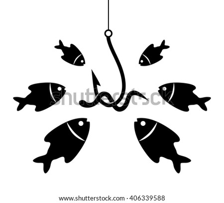 vector black and white fishing icon with hook, bait and hungry fishes - stock vector