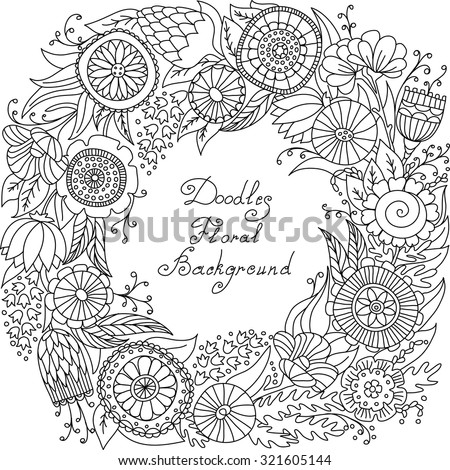 vector black and white floral frame pattern of spirals, swirls, doodles - stock vector